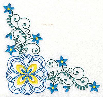 Embroidery Design: Floral corner design J large 4.98w X 4.98h