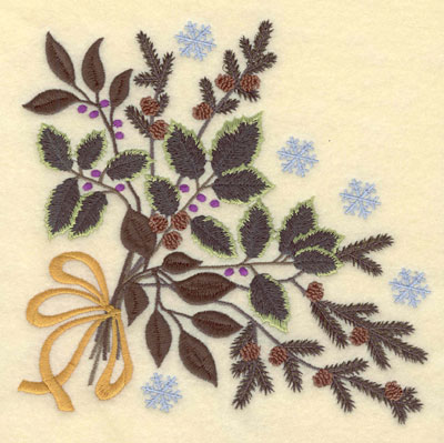 Embroidery Design: Large Holly Pine Boughs Bow Snowflakes7.10w X 7.00h