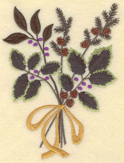 Embroidery Design: Small Holly Pine Boughs Bow Snowflakes5.15w X 7.01h
