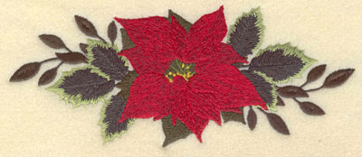 Embroidery Design: Poinsettia with Leaves on either Side7.00w X 2.92h
