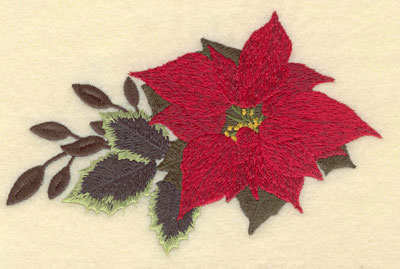 Embroidery Design: Poinsettia with Leaves on one Side 6.00w X 3.99h