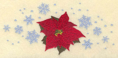 Embroidery Design: Poinsettia with Snowflakes7.01w X 3.31h
