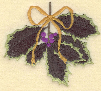 Embroidery Design: Holly with Bow4.03w X 3.57h