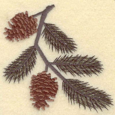Embroidery Design: Pine Bough with Two Pine Cones3.69w X 3.61h