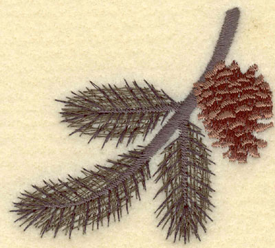 Embroidery Design: Pine Bough with Single Pine Cone3.03w X 2.79h