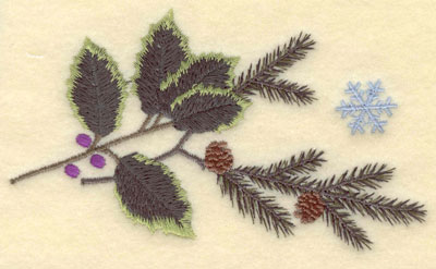 Embroidery Design: Pine Boughs Holly and Snowflake5.21w X 2.93h