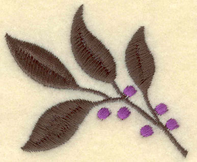 Embroidery Design: Leaves with Berries2.41w X 2.01h