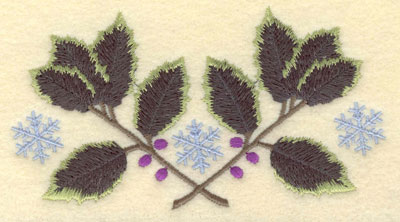 Embroidery Design: Holly with Three Snowflakes5.29w X 2.86h