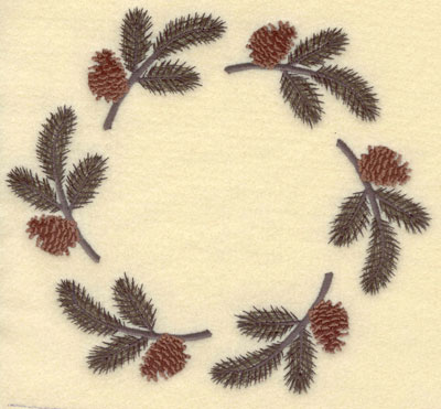 Embroidery Design: Large Pine Boughs with Cones Circle7.70w X 6.87h