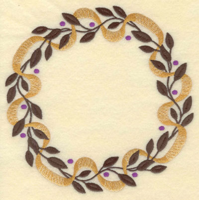 Embroidery Design: Leaves Berries and Bows Circle7.01w X 7.01h