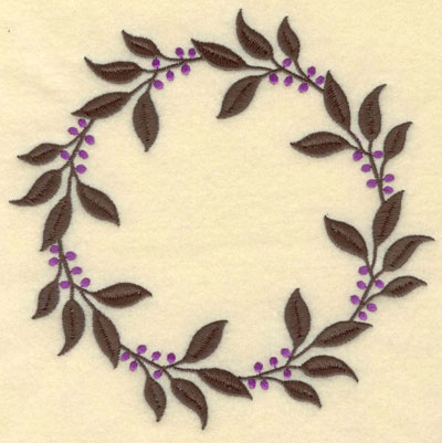 Embroidery Design: Leaves and Berries Circle7.01w X 7.01h