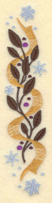 Embroidery Design: Large Vertical Leaves Bows Snowflakes2.51w X 10.51h