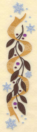 Embroidery Design: Small Vertical Leaves Bows Snowflakes1.70w X 7.00h