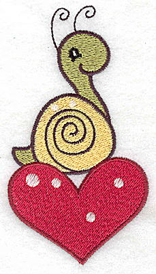 Embroidery Design: Snail on heart large 2.64w X 4.80h
