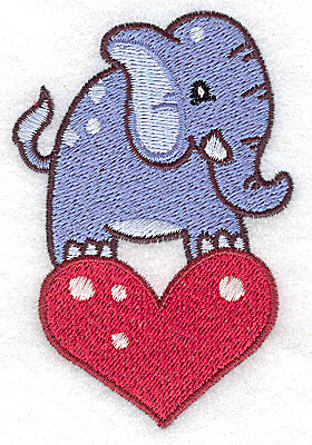 Embroidery Design: Elephant on heart small 2.50w X 3.76h