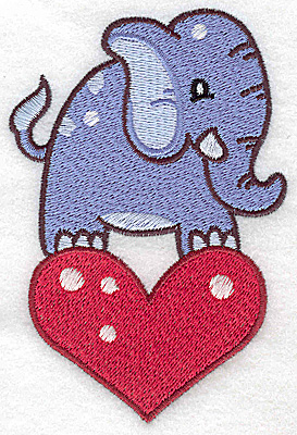 Embroidery Design: Elephant on heart large 3.20w X 4.81h