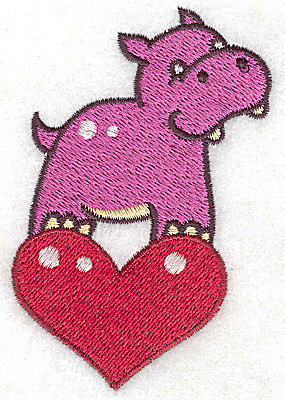 Embroidery Design: Hippo on heart small 2.40w X 3.73h