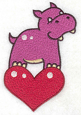 Embroidery Design: Hippo on heart large 3.07w X 4.78h