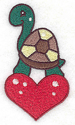 Embroidery Design: Turtle on heart small 2.09w X 3.77h