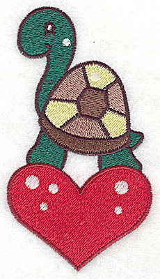 Embroidery Design: Turtle on heart large 2.67w X 4.83h