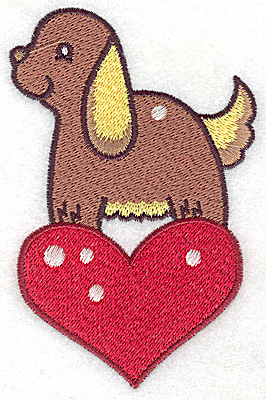 Embroidery Design: Dog on heart large 3.02w X 4.72h