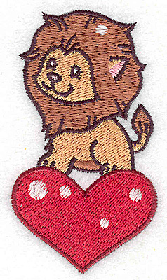 Embroidery Design: Lion on heart small 2.03w X 3.71h