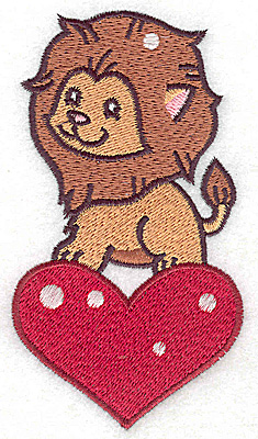 Embroidery Design: Lion on heart large 2.60w X 4.75h