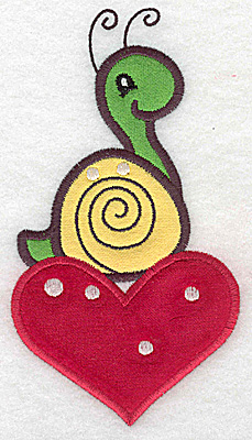 Embroidery Design: Snail on heart appliques 3.35w X 6.10h