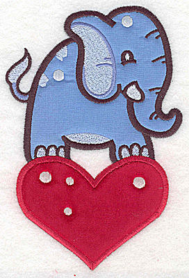 Embroidery Design: Elephant on heart appliques 4.05w X 6.11h