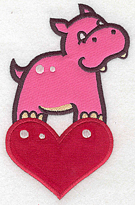 Embroidery Design: Hippo on heart appliques 3.89w X 6.08h