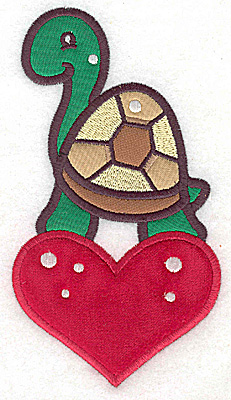 Embroidery Design: Turtle on heart appliques 3.38w X 6.14h