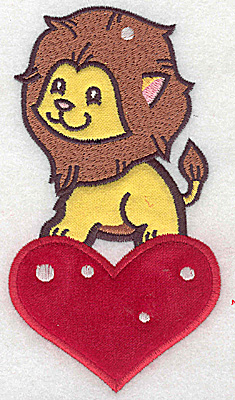 Embroidery Design: Lion on heart appliques 3.29w X 6.00h