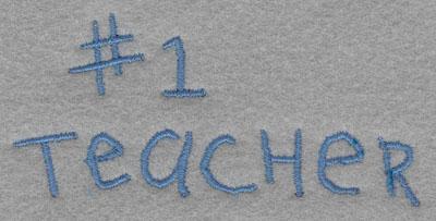 Embroidery Design: # 1 Teacher Small1.72h X 3.71w