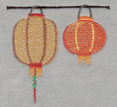 Embroidery Design: Chinese Lantern Double Large3.44h X 3.54w