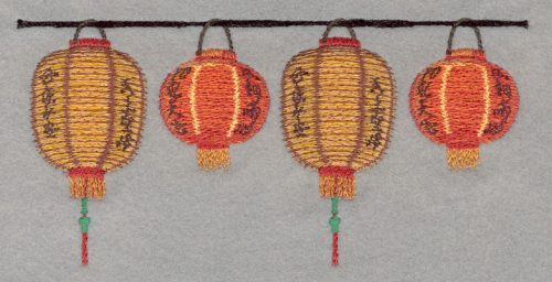 Embroidery Design: Chinese Lanterns Four Small Applique3.62h X 7.54w