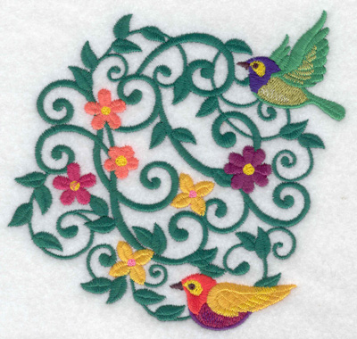 Embroidery Design: Birds and flowers round 5.25w X 4.93h