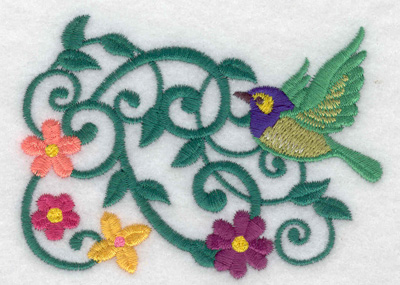 Embroidery Design: Bird vine and flowers 3.81w X 2.75h