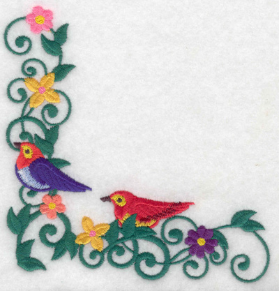 Embroidery Design: Birds vine flowers corner large 4.80w X 4.99h