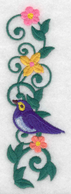 Embroidery Design: Bird vine flowers verticle 1.63w X 4.98h