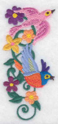 Embroidery Design: Birds vine flowers verticle 1.90w X 4.23h