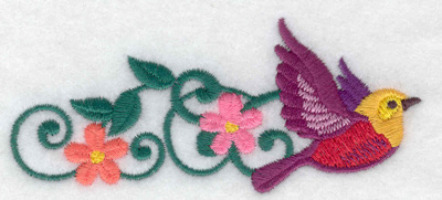 Embroidery Design: Bird leading vine and flowers 3.89w X 1.66h