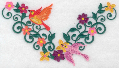 Embroidery Design: Birds flowers vines 6.45w X 3.49h