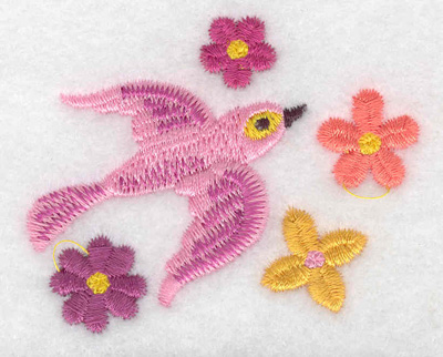 Embroidery Design: Bird pink  2.44w X 1.99h