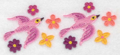 Embroidery Design: Birds pink 4.78w X 1.99h