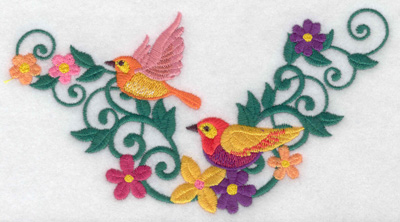 Embroidery Design: Birds in flight flowers and vines 6.94w X 3.94h