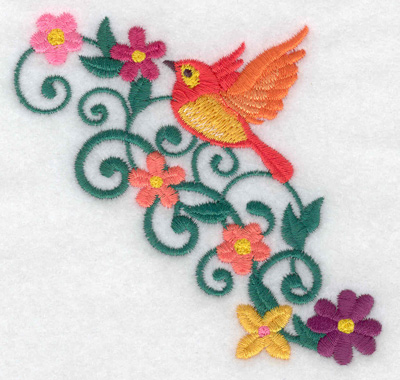 Embroidery Design: Bird in flight flowers and vines 3.80w X 3.61h