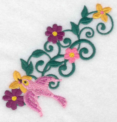 Embroidery Design: Bird pink vines and flowers 3.83w X 3.88h