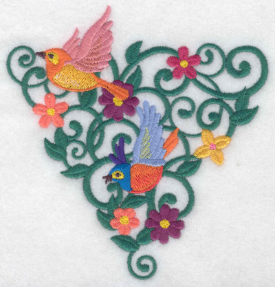 Embroidery Design: Birds in triangle vines 4.72w X 4.95h