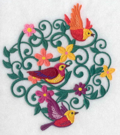 Embroidery Design: Bird trio 5.50w X 4.83h