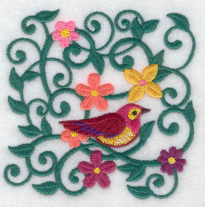 Embroidery Design: Bird flowers vines 3.87w X 3.85h